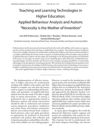 "Primary view of object titled 'Teaching and Learning Technologies in Higher Education: Applied Behaviour Analysis and Autism: ""Necessity is the Mother of Invention""'."
