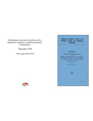 Primary view of object titled 'Technology Assessment Activities in the Industrial, Academic, and Governmental Communities'.
