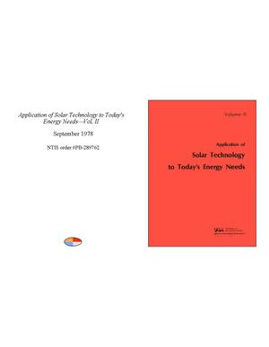 Primary view of object titled 'Application of Solar Technology to Today's Energy Needs - Volume 2'.