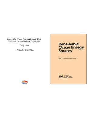 Primary view of object titled 'Renewable Ocean Energy Sources: Part 1 - Ocean Thermal Energy Conversion'.