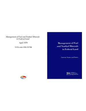 Primary view of object titled 'Management of Fuel and Nonfuel Minerals in Federal Land: Current Status and Issues'.