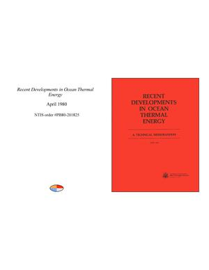 Primary view of object titled 'Recent Developments in Ocean Thermal Energy'.