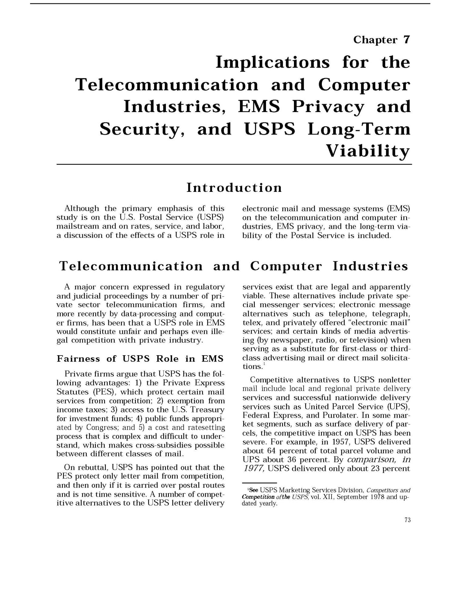 Implications of Electronic Mail and Message Systems for the U.S. Postal Service                                                                                                      73