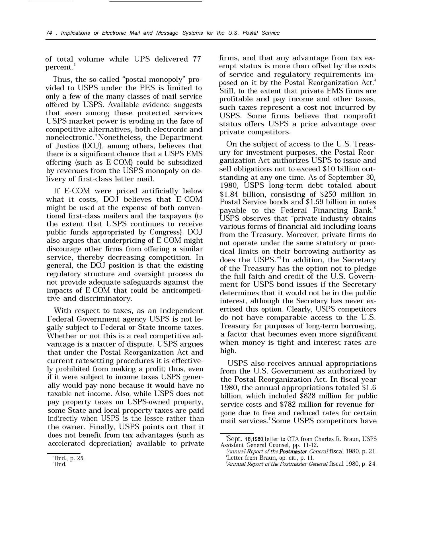 Implications of Electronic Mail and Message Systems for the U.S. Postal Service                                                                                                      74