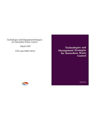 Primary view of object titled 'Technologies and Management Strategies for Hazardous Waste Control'.