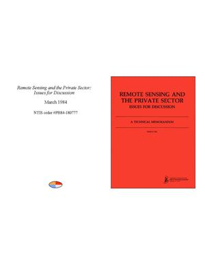 Primary view of object titled 'Remote Sensing and the Private Sector: Issues for Discussion'.