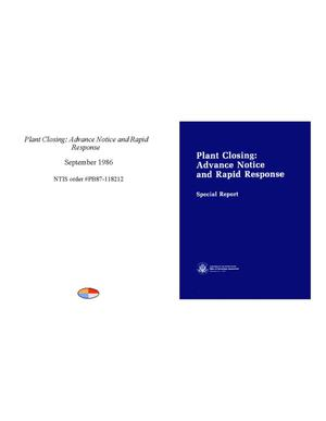Primary view of object titled 'Plant closing: advance notice and rapid response: special report'.