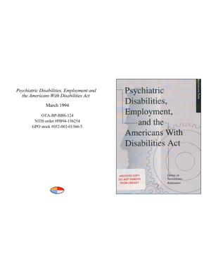 Primary view of object titled 'Psychiatric Disabilities, Employment and the Americans With Disabilities Act'.