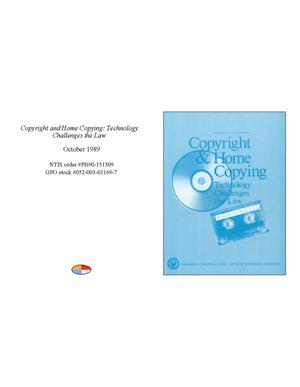 Primary view of object titled 'Copyright and Home Copying: Technology Challenges the Law'.