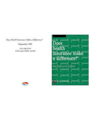 Primary view of object titled 'Does Health Insurance Make a Difference?'.