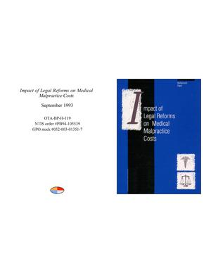 Primary view of object titled 'Impact of Legal Reforms on Medical Malpractice Costs'.
