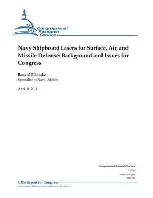 Navy Shipboard Lasers for Surface, Air, and Missile Defense: Background and Issues for Congress