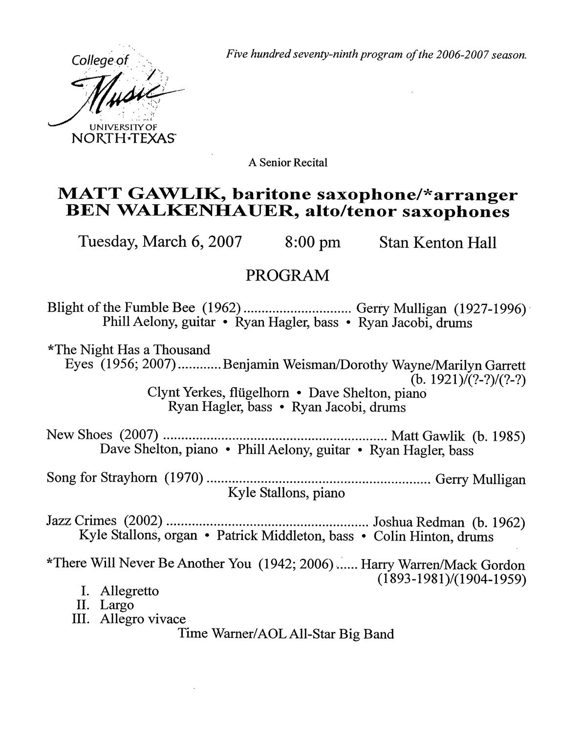College of Music program book 2006-2007 Student Performances Vol. 1                                                                                                      [Sequence #]: 154 of 319