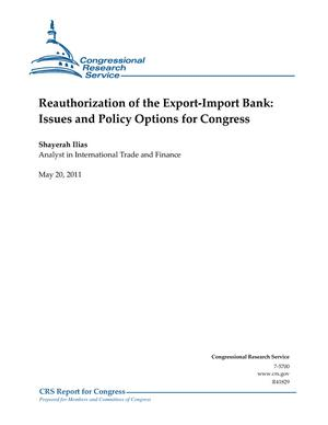 Reauthorization of the Export-Import Bank: Issues and Policy Options for Congress