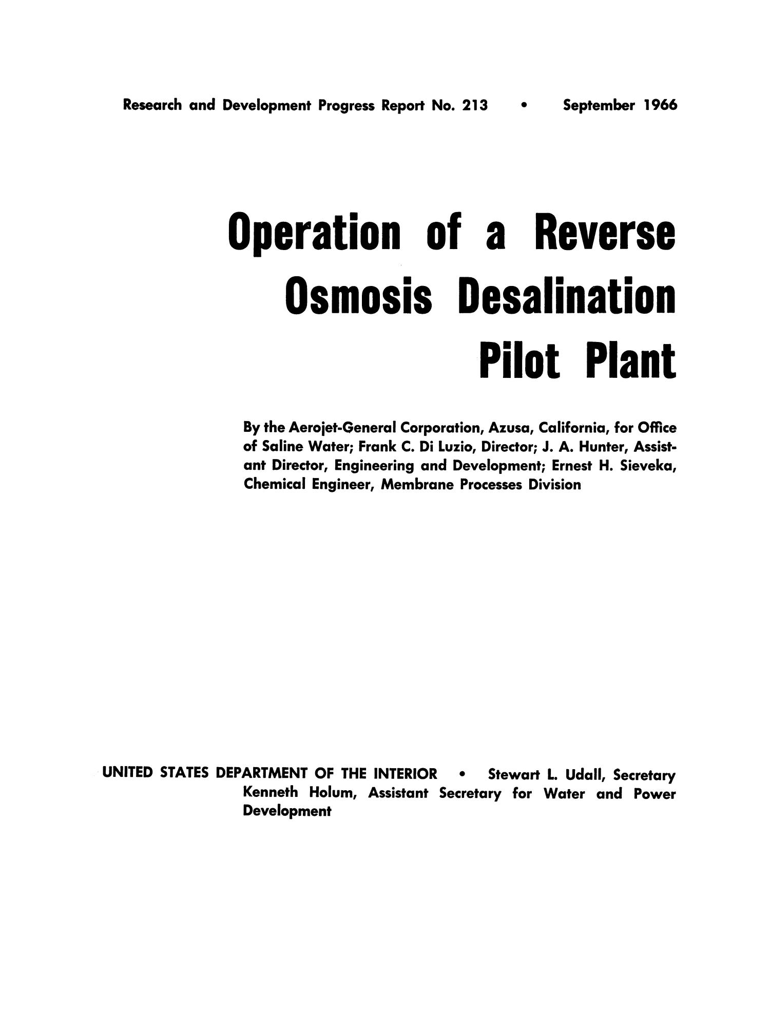 Operation of a reverse osmosis desalination pilot plant Page