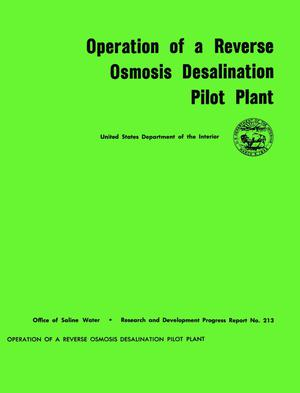 Operation of a reverse osmosis desalination pilot plant