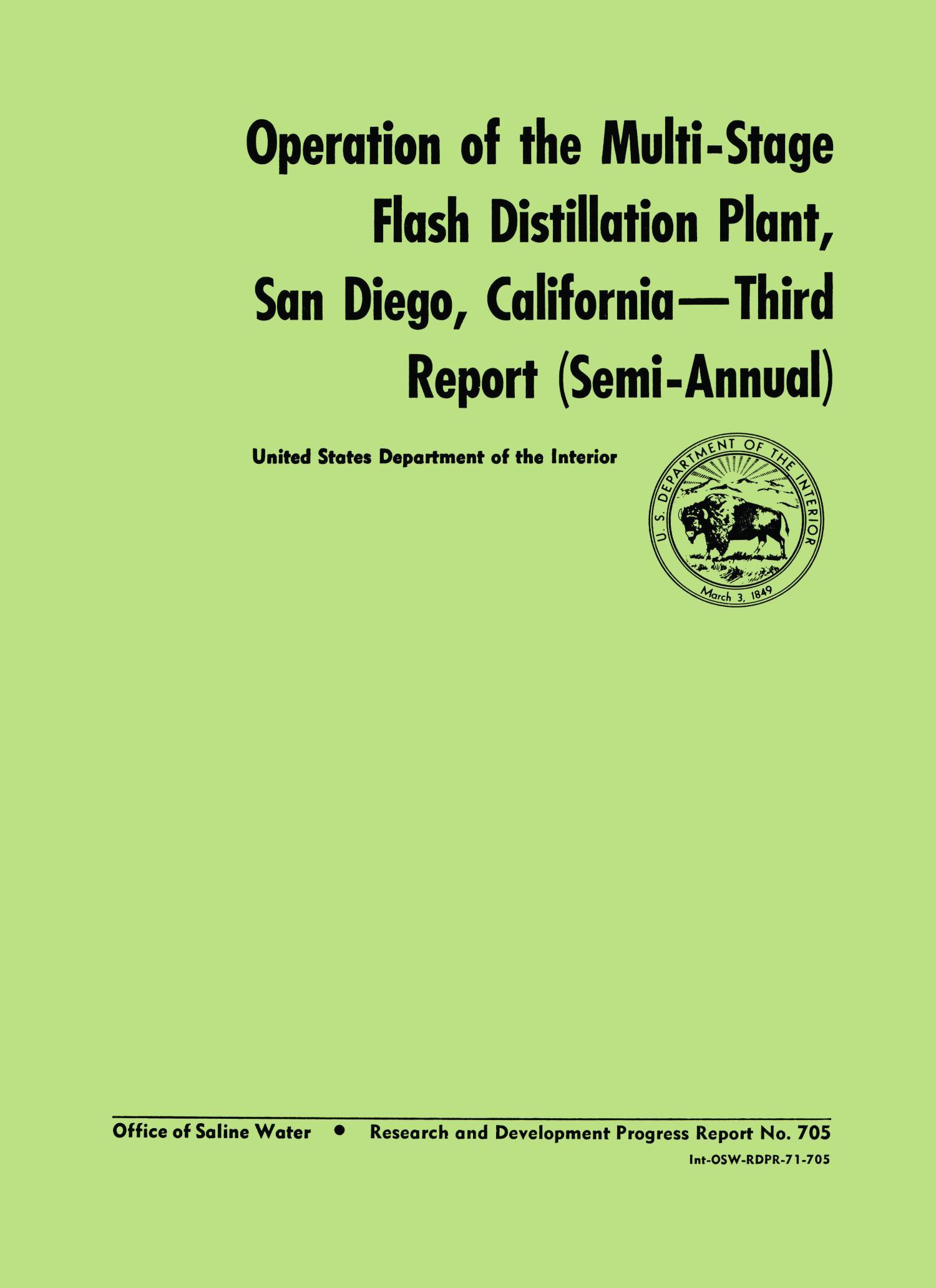 Operation of the multi stage flash distillation plant San Diego