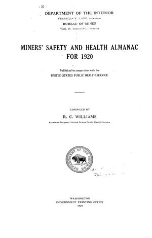 Miners' safety and health almanac for 1920