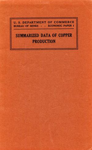 Primary view of object titled 'Summarized data of copper production'.