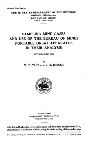 Sampling mine gases and use of the Bureau of mines portable Orsat apparatus in their analysis