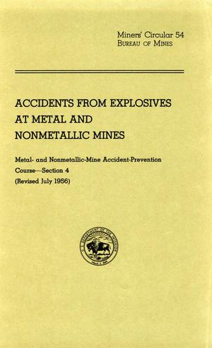 Accidents from explosives at metal and nonmetallic mines
