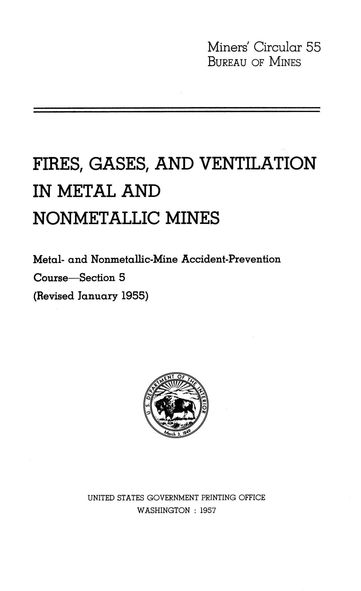 Fires, gases, and ventilation in metal and nonmetallic mines                                                                                                      Title Page