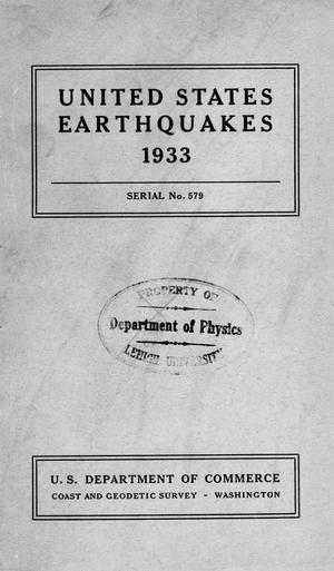 Primary view of United States Earthquakes, 1933