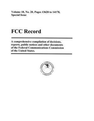 Primary view of object titled 'FCC Record, Volume 18, No. 20, Pages 13620 to 14178, Special Issue'.