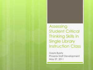 Primary view of object titled 'Assessing Student Critical Thinking Skills in Single Library Instruction Class'.