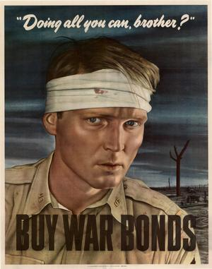 "Primary view of object titled '""Doing all you can, brother?"" : buy war bonds.'."