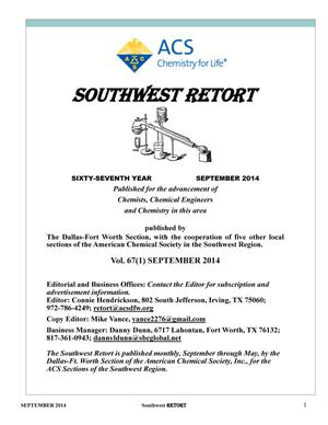 Primary view of object titled 'Southwest Retort, Volume 67, Number 1, September 2014'.