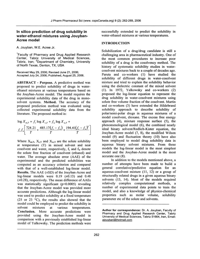In silico prediction of drug solubility in water-ethanol