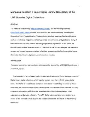 Primary view of object titled 'Managing Serials in a Large Digital Library: Case Study of the UNT Libraries Digital Collections'.