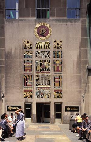 Primary view of object titled 'Rockefeller Center, RCA Building, Wall Reliefs'.