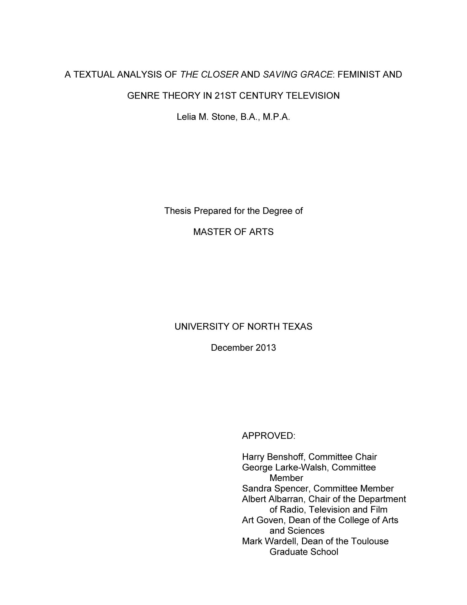 A Textual Analysis of the Closer and Saving Grace: Feminist and Genre Theory in 21St Century Television                                                                                                      Title Page