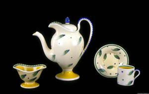 Primary view of object titled 'Susie Cooper Earthenware Ceramics, Sugar Bowl, Tea Pot, Cup and Saucer'.