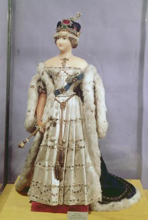 Primary view of object titled 'Queen Victoria (1819-1901) Doll Dressed in Her Coronation Robes'.