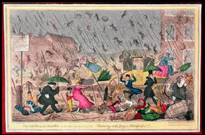 Primary view of object titled 'Very Unpleasant Weather, or the Old Saying Verified, Raining Cats, Dogs, and Pitchforks'.