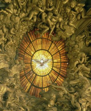 Stained Glass Window, Glory, and Sculpted Figures Behind the Chair of Saint Peter in St. Peter's Basilica