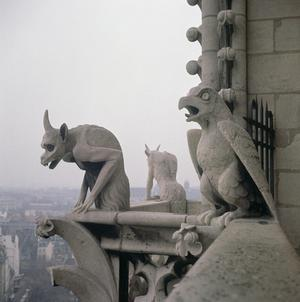 Primary view of Nineteenth-century Replica of Gargoyle on the Balustrade of the Grande Galerie, Notre Dame Cathedral