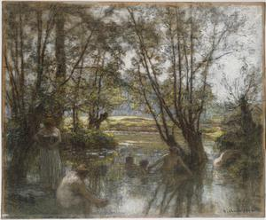 Primary view of object titled 'Women and Children Bathing in a River'.