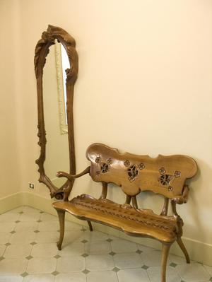Primary view of object titled 'Banco Calvet Bench Seat and Calvet Mirror'.