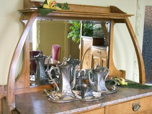 Buffet with Pewter Coffee Service