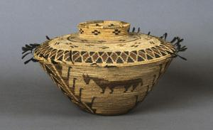 Primary view of object titled 'Pomo basket and lid from California, Pomo people'.