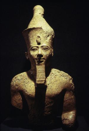 Primary view of object titled 'King Amenhotep II with Double Crown'.