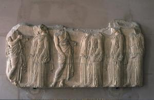 Primary view of object titled 'Fragment of Parthenon Frieze with Procession of the Argostines'.