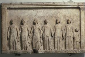 Primary view of object titled 'Votive Relief Representing Chorus of Nymphs and Graces with Telonnesos'.