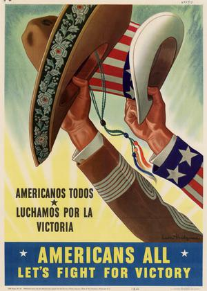 Primary view of object titled 'Americans all, let's fight for victory : Americanos todos, luchamos por la victoria.'.