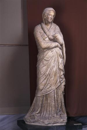 Primary view of object titled 'A Draped Woman called Baebia'.