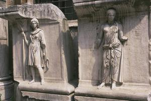 Primary view of object titled 'Pedestal Reliefs, Allegories of Roman provinces, from Temple of Hadrian'.